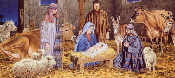 manger christmas-card